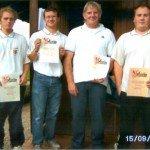 v.l. Jakob Birawski, Sebastian Huber, Reinhold Sterns, Steffan Wurm,am 2. und 23. Juni 3. Platz, Aufstieg in A-Klasse